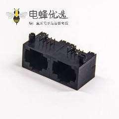 插件rj45封装8p8c直插式单层多端口1×2全塑式母座