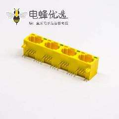 直插式带灯RJ45母座黄色单层多端口8P8C 1X4带led灯