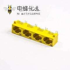 黄色 RJ45母座单层多端口1x4 非屏蔽式带灯插PCB板