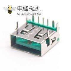 直角USB A母座90度绿色胶芯4p
