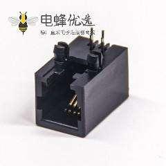 rj11 4p4c封装模块化网口连接器90度弯角全塑带定位柱穿孔式
