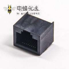 单层塑料RJ45接口8p8c沉板式黑色不带屏蔽模块化连接器