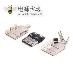 3.0 micro usb连接器公头9p三件套焊线