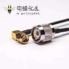 rp-sma接头弯式公头转tnc直式公头组装线缆RG174