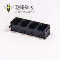 rj12 6p4c以太网连接器穿孔式弯角单层联体全塑插座