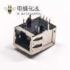 RJ45 Magjack连接器带灯带弹片弯式带屏蔽插板