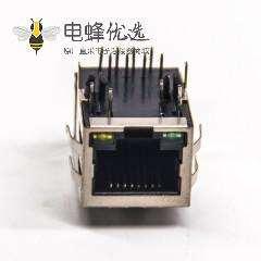 带弹片RJ45带屏蔽8p8c弯式带led灯接pcb板rj45网络接口