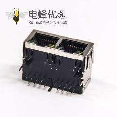 RJ45弹片 带灯双端口1×2弯式8p8c全包屏蔽式网络连接器