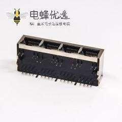 带滤波器的RJ45网络模块化连接器1×4多端口90º带灯