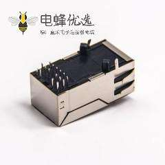 rj45网络接口 带滤波器屏蔽式带led灯带弹片模块化连接器