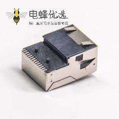 rj45 SMT带灯带弹片沉板式rj45网络接口插板