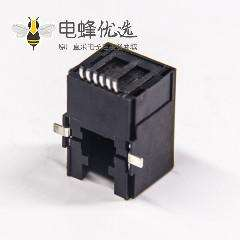 rj12插座90度SMT沉板式黑色全塑6p6c网络模块化连接器