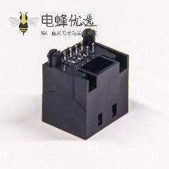 rj45 接插件8p8c非屏蔽式黑色穿孔式插PCB板rj45母座