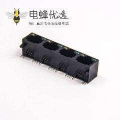 直插式rj45 8p8c单层多端口1×4黑色非屏蔽式带led灯