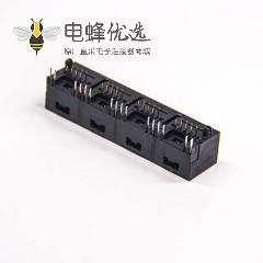 rj45直插式接口1X4单层黑色全塑带led灯网络模块化