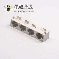 rj45插座8P8C网络模块化连接器弯式全塑插件接pcb板