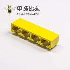 RJ45插座网口8p8c带灯黄色非屏蔽式单层多端口1x4