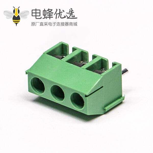 绿色端子座螺钉式3芯穿孔式插PCB板