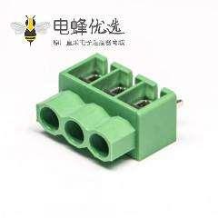 绿色端子螺钉式3芯接线直式接PCB板