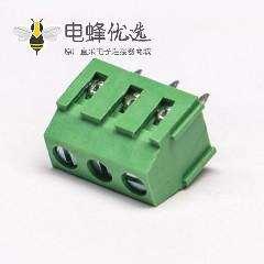 绿色接线端子螺钉式3芯直式连接器插PCB板
