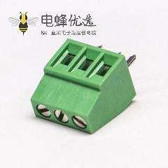 绿色端子螺钉式直式3芯穿孔式接PCB板