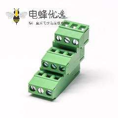 PCB接线端子 绿色3排 9芯带9个螺钉的绿色端子接线