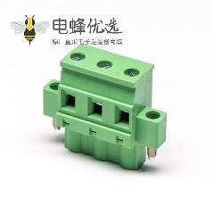 插拔式端子排直式穿孔螺母锁紧带螺丝绿色端子接线