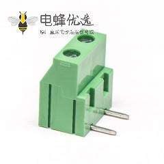 两芯绿色端子螺钉式弯式穿孔式接PCB板