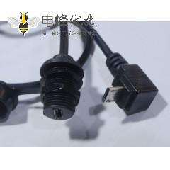 MicroUSB 5母防水 M12-1.0 -MicroUSB 5公 90 上弯头 连接线