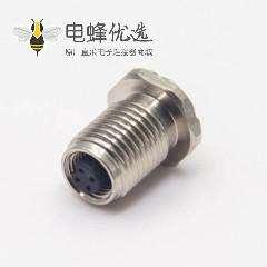 M5防水接头航空插座母头直式防水带螺纹后锁板连接器