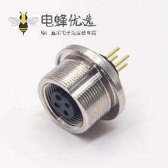 圆形插座连接器M9母头直式插孔接pcb板4芯连接器