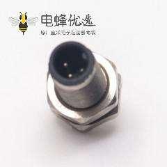 m5传感器接头3pin防水公头前锁板焊线式航空插座防水