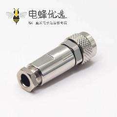 全金属防水连接器M9 5芯母头直式组装接头