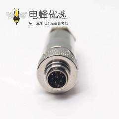 金属连接器M9公头直式8芯组装接头