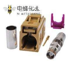 Fakra头K型母头压接焊接接线RG58 LMR-195 RG400 RG142连接器