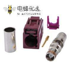 Fakra D母压接焊条接线连接器RG58 LMR-195 RG400 RG142