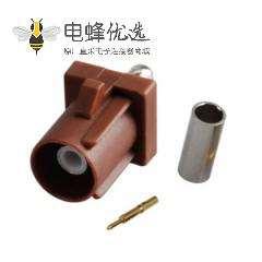 Fakra 压接公头棕色焊接连接器用于RG316 RG174
