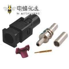 FAKRA压铸件A型公头黑色压接接线RG316 RG174车载音响用连接器