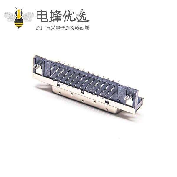 SCSI 插座HPCN型50芯母头弯式连接器插孔式PCB板安装