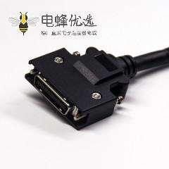 SCSI芯HPCN型黑色塑胶壳公转公直式螺丝锁接双边线1米