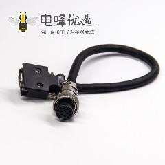 SCSI 连接器HPCN型14芯公头螺丝锁接式连接器转GX 15芯母头直式航空插头线材1米
