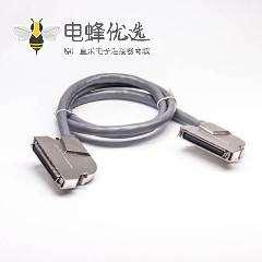 SCSI线束HPCN型68芯弯公转弯公锌合金外壳组装线2米