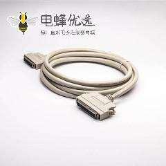 SCSI50Pin线HPCN型公头2米锌合金外壳转HPCN型50芯公头注塑成型双边线