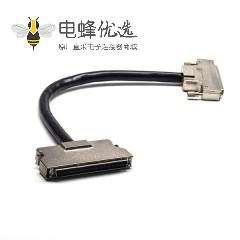 SCSI连接器100芯HPDB直式插头插座螺丝锁连接器1米
