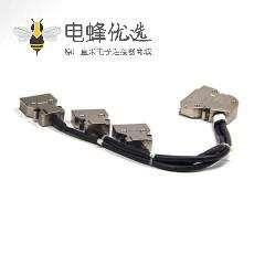 SCSI连接器线HPDB 50芯弯式公头转20芯直式公头按键式连接器1米