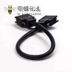 SCSI直插连接器线材20芯HPCN型黑色塑胶壳公转公螺丝锁接双边线1米