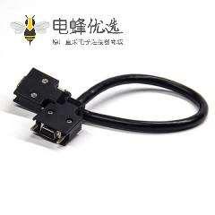 SCSI线材HPCN型14芯黑色塑胶壳公转公直式螺丝锁接双边线1米
