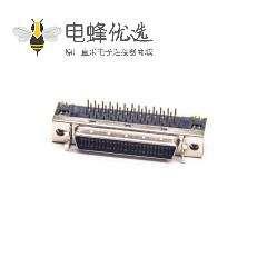 SCSI连接器HPDB型50芯弯式插板母头插孔式PCB板安装