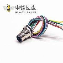 M12连接器12芯单边公头接线插座