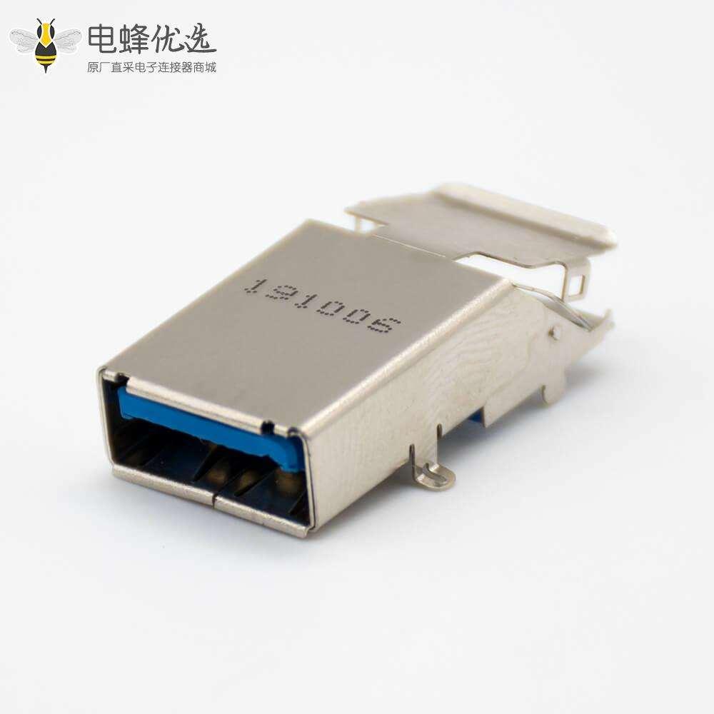 USB typeA接口板上沉板双层铁壳前脚插孔直式9芯母头连接器